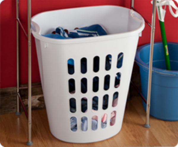 Sterilite® 12568006 Open Laundry Hamper with Integrated Handles, White