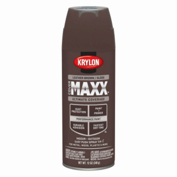 Krylon® K09128000 CoverMaxx™ Performance Spray Paint, Gloss Leather Brown, 12 Oz
