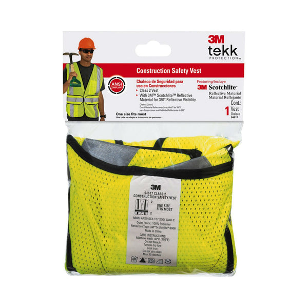 3M 94617-80030 TEKK Protection Class 2 Construction Safety Vest, Hi-Viz Yellow