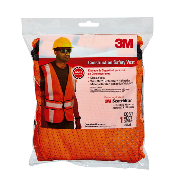 3M 94625-80030T Tekk Protection Class 2 Construction Safety Vest, Hi-Viz Orange
