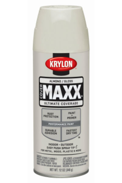 Krylon® K09100000 CoverMaxx™ Performance Spray Paint, Gloss Almond, 12 Oz