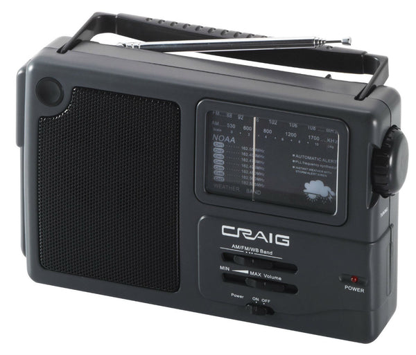 Craig® CR4181W Portable AM/FM Radio with Weather Band
