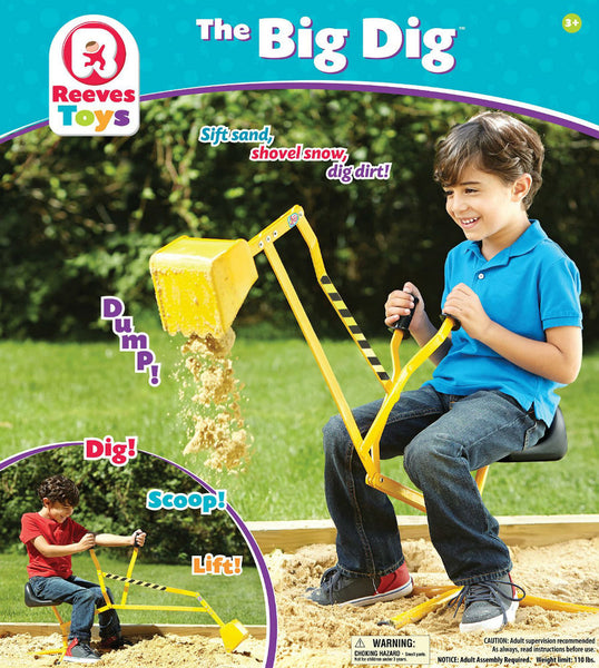 Reeves 100 The Big Dig® Metal Ride-On Working Crane for Kids, Age 3+, 110 Lbs