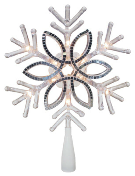 "Sylvania V49420-88 Acrylic Mirrored Snowflake Christmas Tree Topper, 10"", Clear"