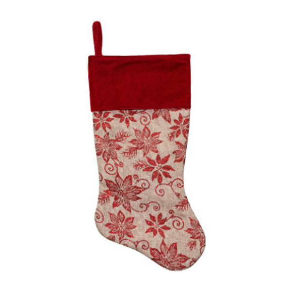 Dyno 1187447-1 Xmas Burlap Stocking w/Poinsettia Pattern & Screen Glitter, 18""