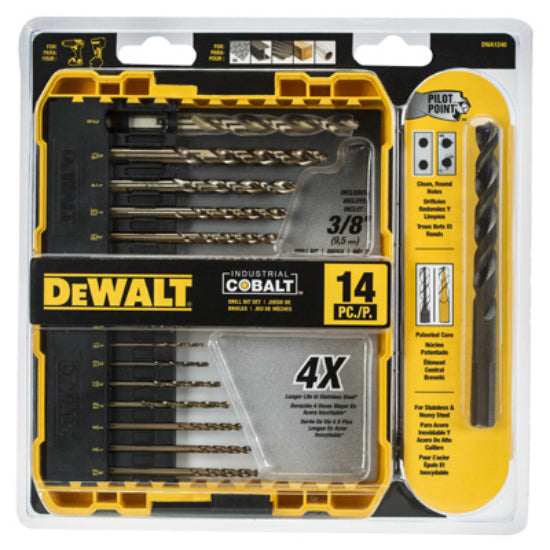 DeWalt® DWA1240 Pilot Point Metal & Wood Drilling Industrial Cobalt, 14-Piece