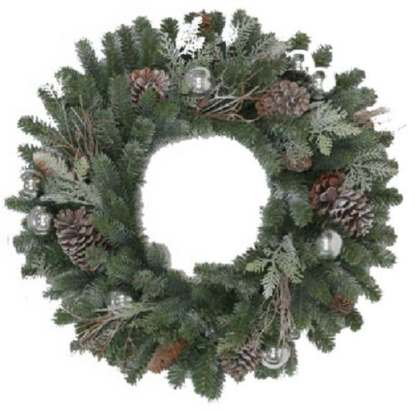 Holiday Wonderland GD20P2045X00 Xmas Tacoma Frosted Artificial Wreath, 24""