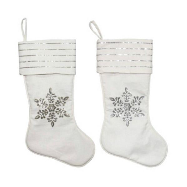 Dyno 1207771CC Xmas Linen Stocking with Sequin Snowflake, Assorted Styles, 20""