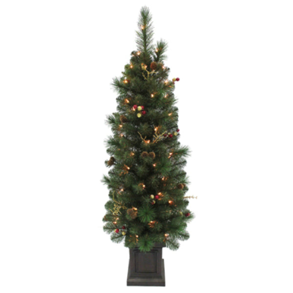 Equinox ITDP-817 Ithica Pine Potted Artificial Christmas Tree, 50-Lights, 4'