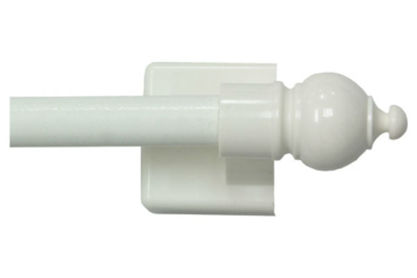 "Kenney™ KN40344 Petite Cafe Magnetic Curtain Rod, White, 16"" - 28"""
