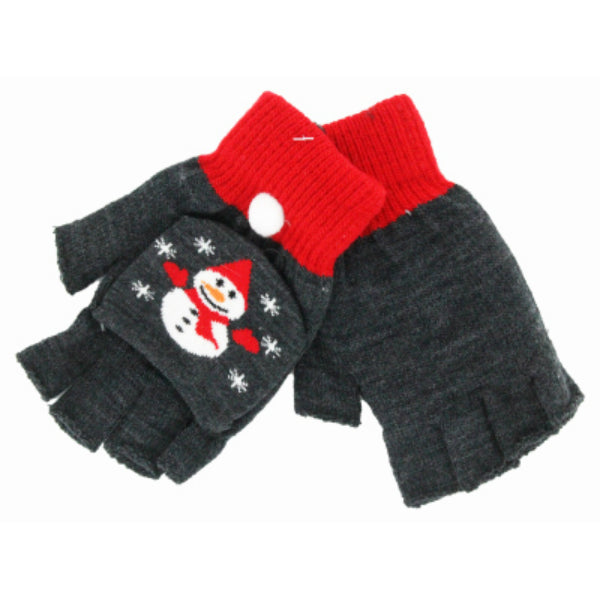 Frosty Fingers X-FGLV Fuzzy Holiday Themed Christmas Fingerless Gloves