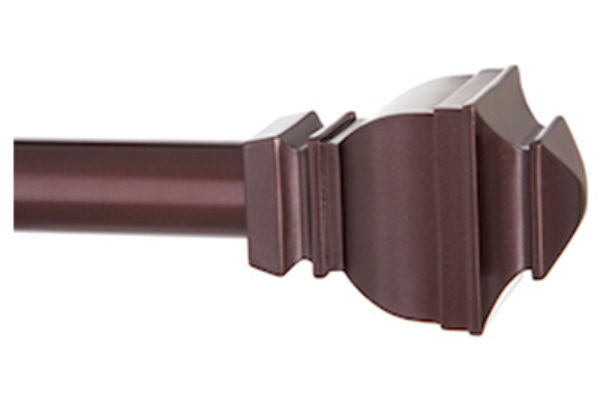 "Kenney™ KN87006 Decorative Riley Curtain Rod with Finials, Brown, 30"" - 84"""