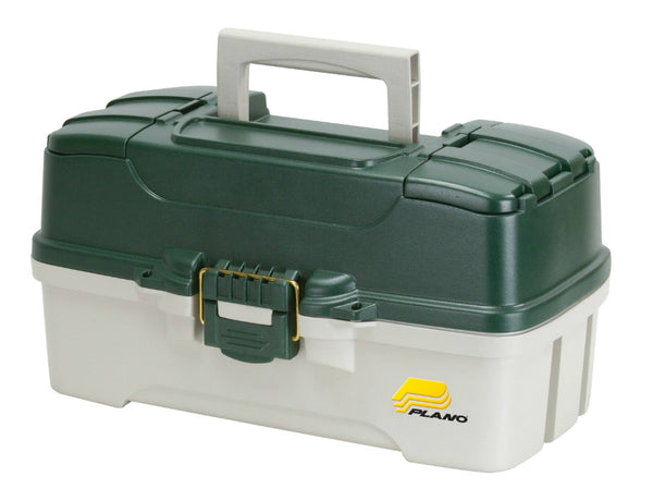 Plano Molding® 620304 Three Tray Tackle Box, Green Metallic/Off White