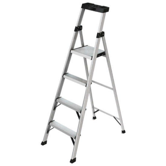 Rubbermaid® RMA-5XS Four-Step Lightweight Aluminum Hybrid Ladder, 5.5', 250 Lbs