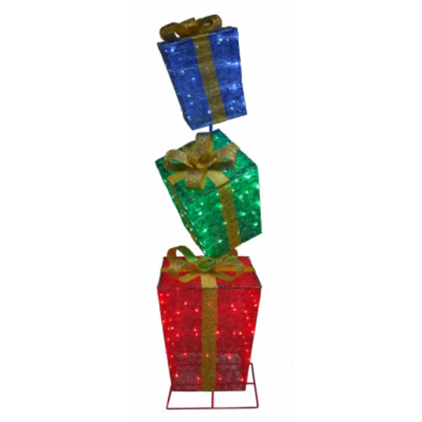 Holiday Wonderland® 56-522-087 Christmas LED 3-Stack Gift Box Set, 72""