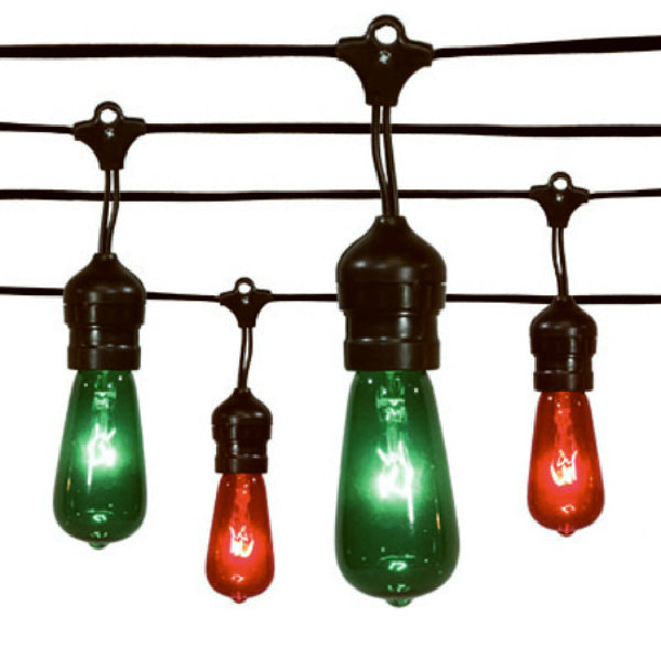 Sylvania V42987-88 Christmas Edison Drop 20-Light Set w/Black Wire, Red/Green