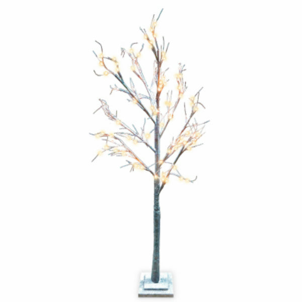 Holiday Wonderland® XDHK32531A Brown Twig Tree w/ 120 Warm White LED Lights, 6'