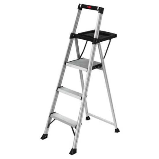 Rubbermaid® RMA-3XST Aluminum Stepstool with Tray, 3-Step, 250 Lbs Capacity