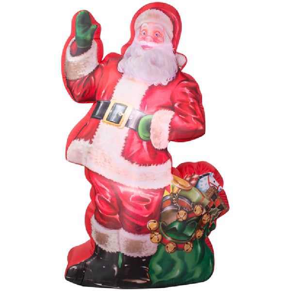 Gemmy 38768 Photorealistic™ AirBlown® Lighted Christmas Santa w/Gift Bag, 7'