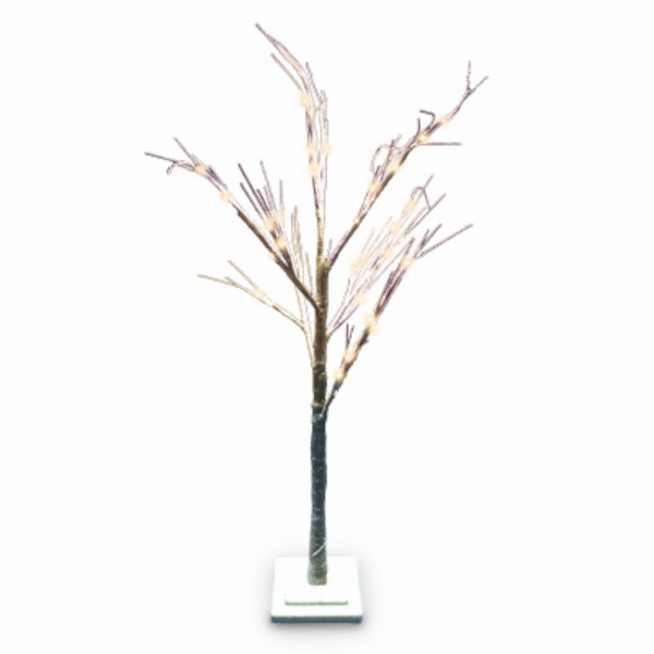Holiday Wonderland® XDHK32153A Brown Twig Tree w/ 48 Warm White LED Lights, 4'