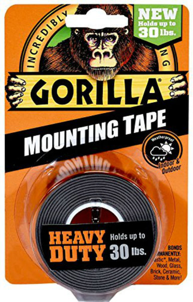 "Gorilla® 6055002 Double-Sided Heavy Duty Mounting Tape, 30 Lb, Black, 1"" x 60"""