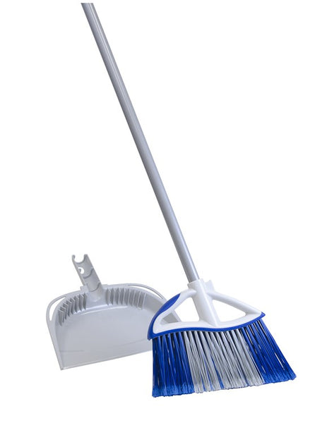 "Quickie® 72750-72409 Dual Action Angle Broom with Dust Pan, 48"" Steel Handle"