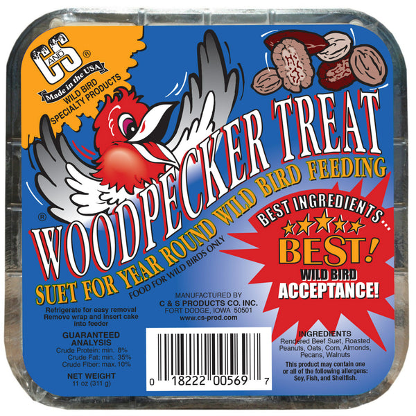 C&S® 12569 Woodpecker Treat Suet for Wild Bird Feeding, 11 Oz