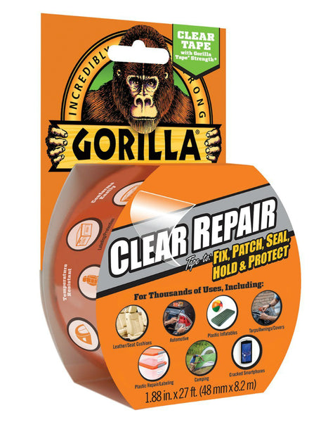 "Gorilla® 6027002 Weatherproof Incredibly-Strong Clear Repair Tape, 1.88"" x 9 Yd"