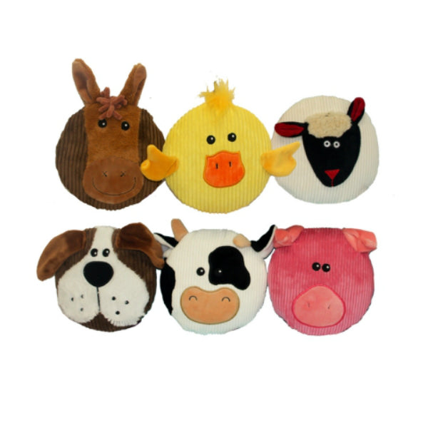 Multipet™ 43203 Sub-Woofers™ Disc-Shaped Corduroy Animal Dog Toy, Assorted, 7""