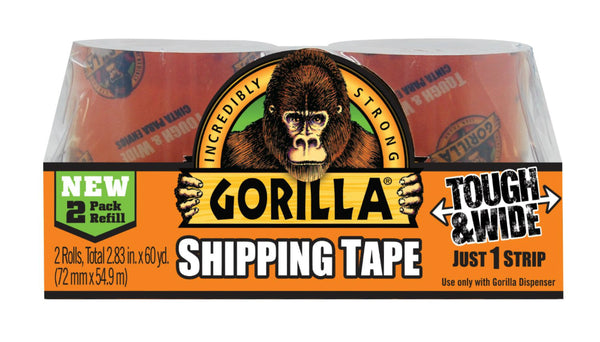 "Gorilla® 6030402 Tough & Wide Packaging Tape, Clear, 3"" x 30 Yd, 2-Pack Refill"