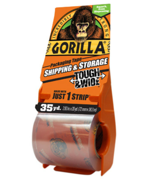"Gorilla® 6045002 Tough & Wide Packaging Tape w/ Dispenser, Clear, 2.83"" x 35 Yd"