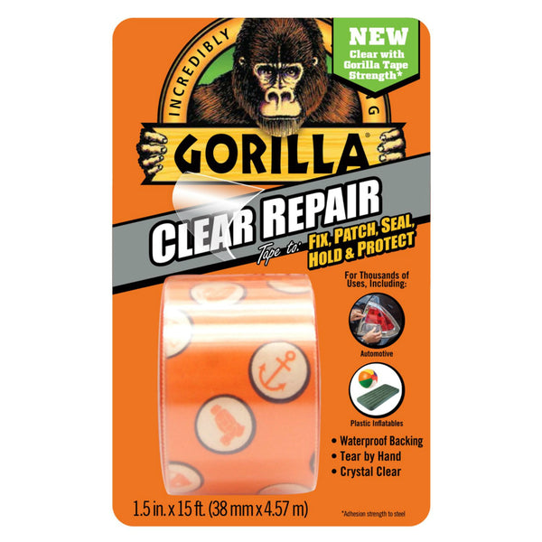 "Gorilla 6015002 Weatherproof Incredibly-Strong Repair Tape, Clear, 1.5"" x 5 Yd"
