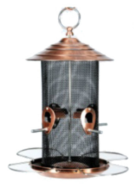 Audubon NABCN Bird Feeder, Brushed Copper Plate Finish, 4 Seed Ports