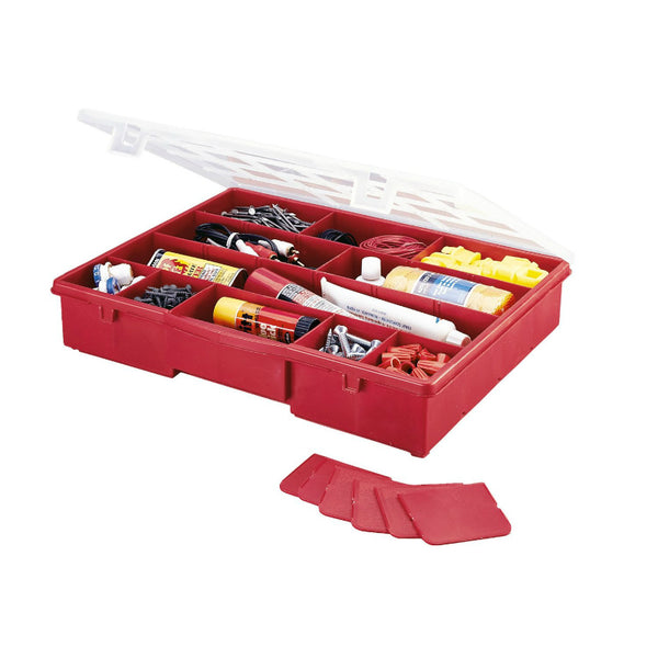 Stack-On® SBR-18 Seventeen-Compartment Storage Box with Removable Dividers, Red