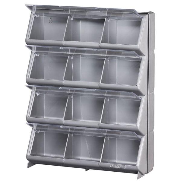 Stack-On CB-12 Clear View 12-Compartment Storage Bin, Silver/Gray