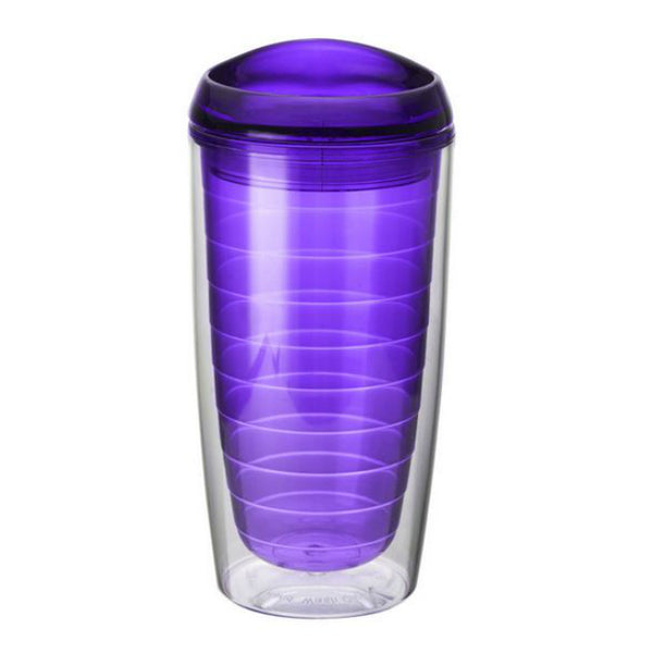 Design for Living™ 5109181 Double Wall Hot/Cold Cup with Lid, 16 Oz, Purple