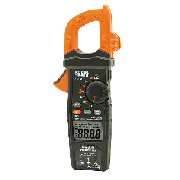Klein Tools® CL800 Digital Clamp Meter, AC/DC Auto-Ranging, 600A