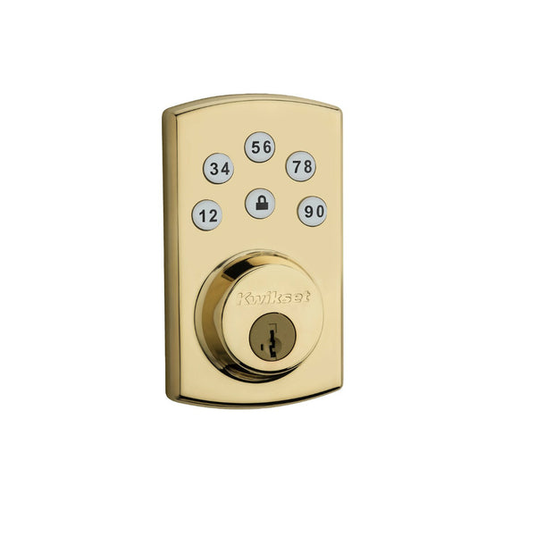 Kwikset® 99070-102 Power Keyless 2.0 Entry Deadbolt w/ SmartKey, Polished Brass