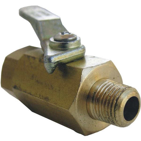 "Lasco 17-0901 Lever-Handle Brass Ball Valve, 1/8"" FIP x 1/8"" MIP"