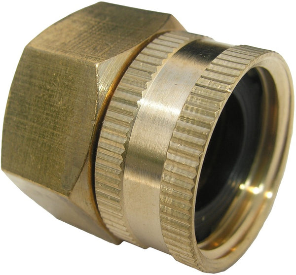 "Lasco 15-1715 Swivel Brass Hose Adapter, 3/4"" FHT x 3/4"" FPT"