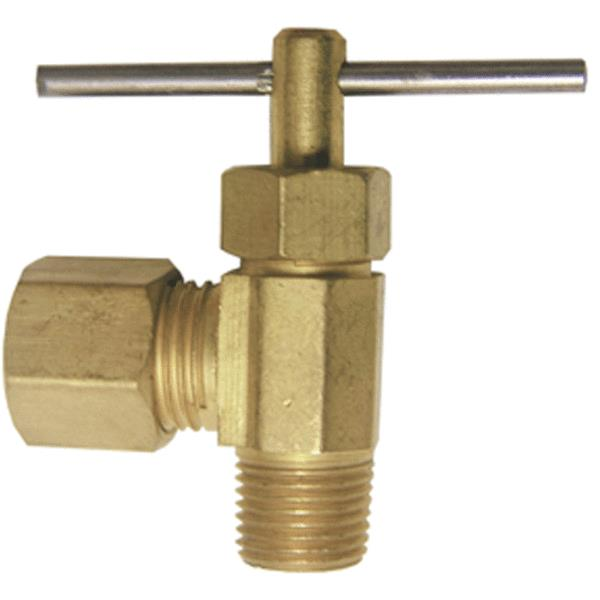 "Lasco 17-1111 Brass Angle Needle Valve, 1/4"" C x 1/4"" MIP"