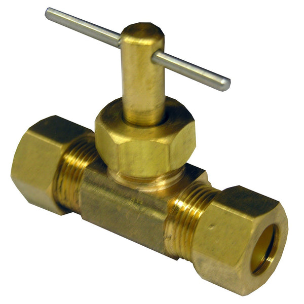 "Lasco 17-1531 Brass Straight Needle Valve, 3/8"" C x 3/8"" C"
