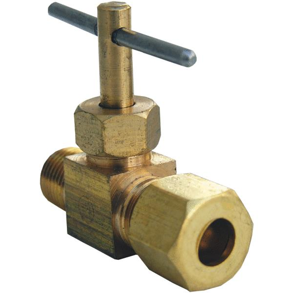 "Lasco 17-1309 Brass Straight Needle Valve, 1/4"" C x 1/8"" MIP"