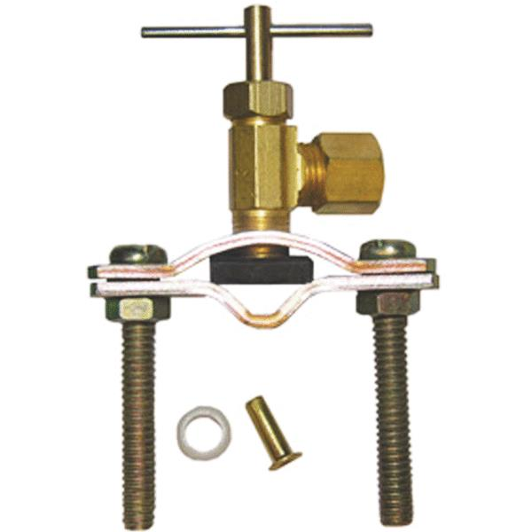 Lasco 17-0601 Compression Outlet Self-Tapping Brass Saddle Needle Valve, 1/4""