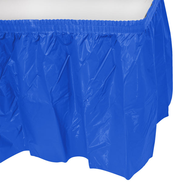 Creative Converting™ 743147 Plastic Table Skirt, Cobalt Blue, 14' x 29""