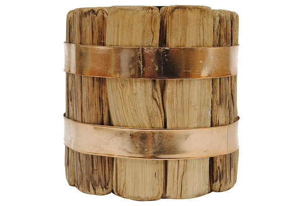 Creative DA4467XTV Wood Pillar Candle Holder with Metal Band, 4-3/4""