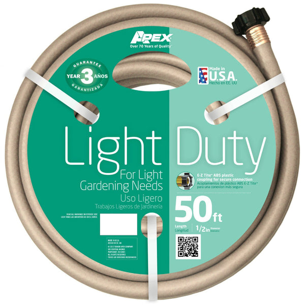 "Apex® 7400-50 Light-Duty Garden Hose, Beige, 1/2"" x 50'"