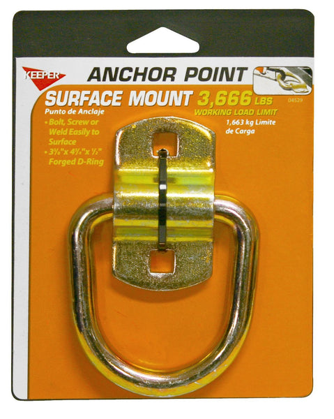 "Keeper® 04529 Surface-Mount Wire Ring with Bracket Anchor Point, 3-3/8"", 3666 Lb"