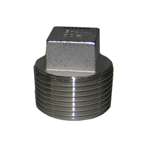 "Lasco 32-2989 Type 304 Stainless-Steel Square Head Pipe Plug, 3/4"" MPT"