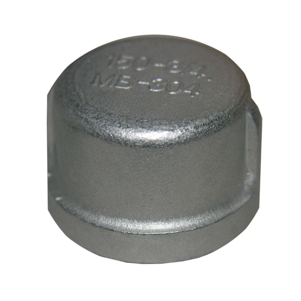 "Lasco 32-2959 Type 304 Stainless-Steel Pipe Cap, 3/4"" FPT"